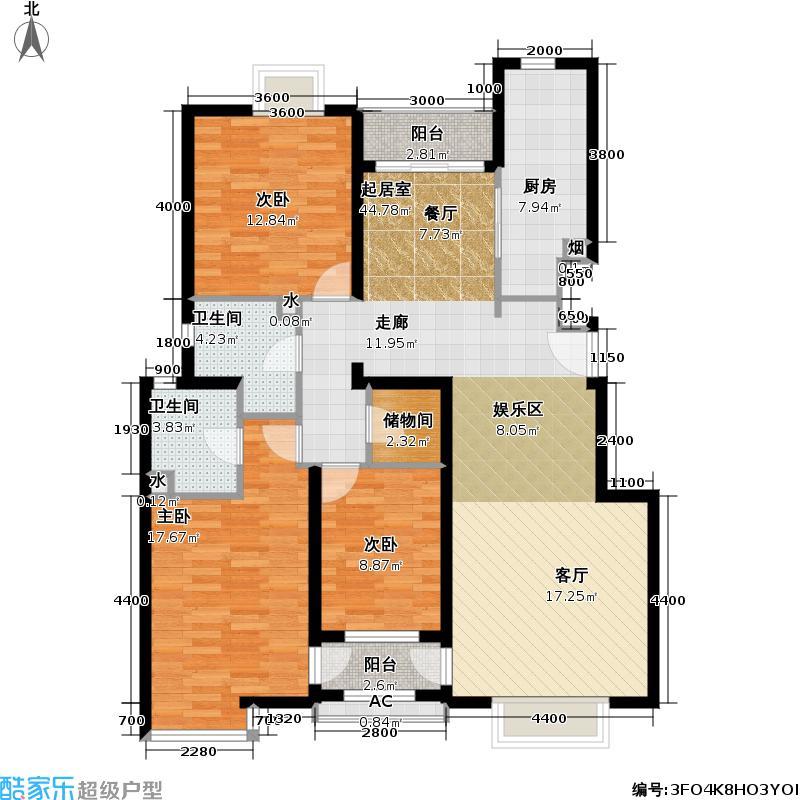 博雅德园144.48㎡三室两厅两卫户型