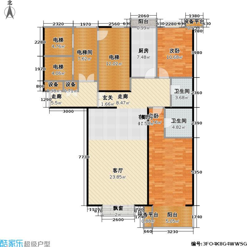 都市节奏129.56㎡3号楼六单元东两室两厅两卫户型