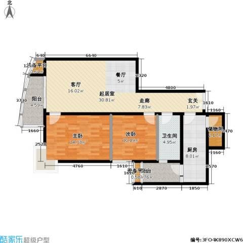 芍药居北里小区2室0厅1卫1厨92.00㎡户型图