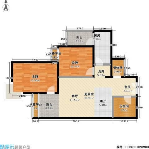 芍药居北里小区2室0厅1卫1厨84.00㎡户型图