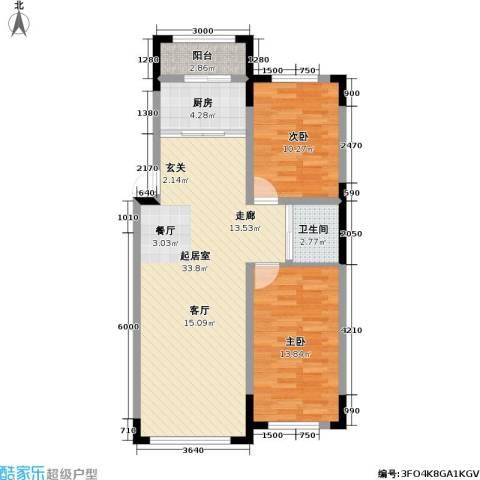 瑞鑫中央领地2室0厅1卫1厨97.00㎡户型图