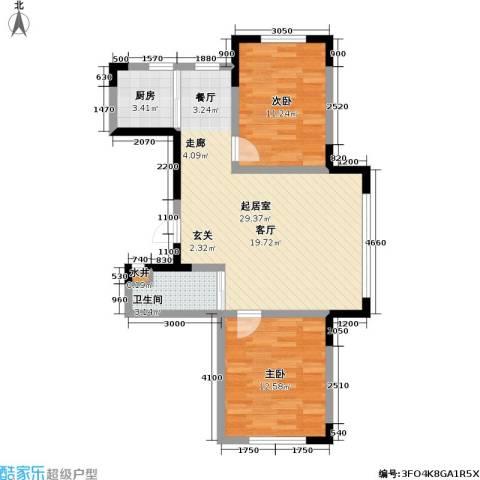 瑞鑫中央领地2室0厅1卫1厨86.00㎡户型图
