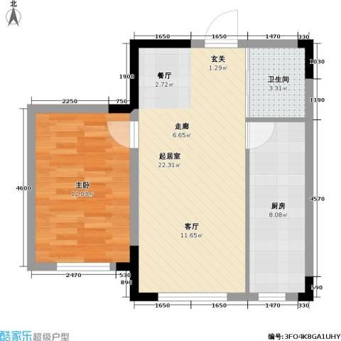 瑞鑫中央领地1室0厅1卫1厨64.00㎡户型图