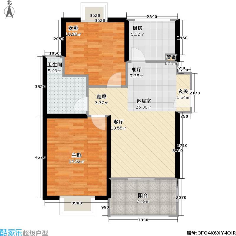 九亭生活佳园75.00㎡房型: 二房; 面积段: 75 -85 平方米; 户型