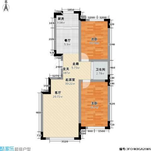 瑞鑫中央领地2室0厅1卫1厨90.00㎡户型图