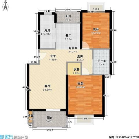 申润・江涛苑2室0厅1卫1厨90.00㎡户型图