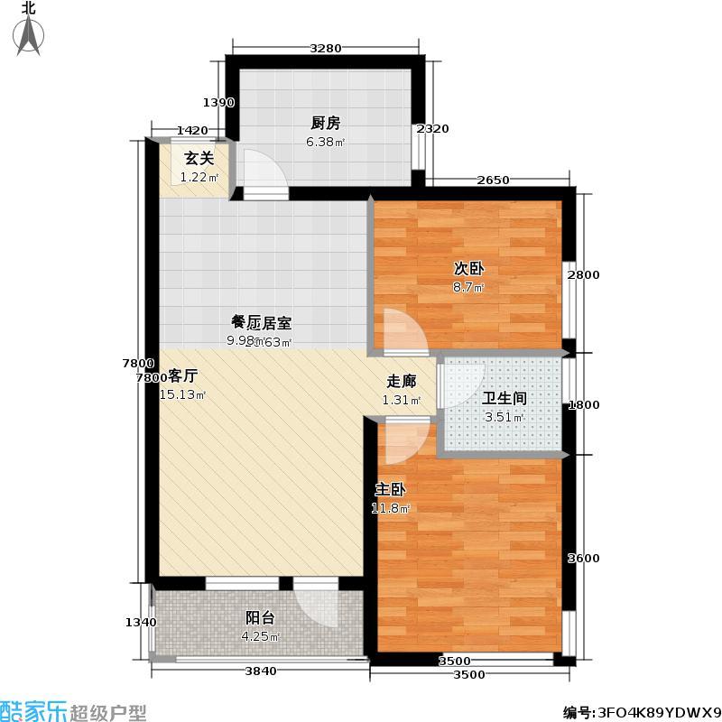 北纬40度景观公寓F2户型二室二厅一卫户型