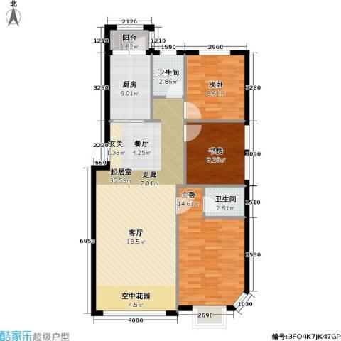 联通格林小镇3室0厅2卫1厨89.13㎡户型图
