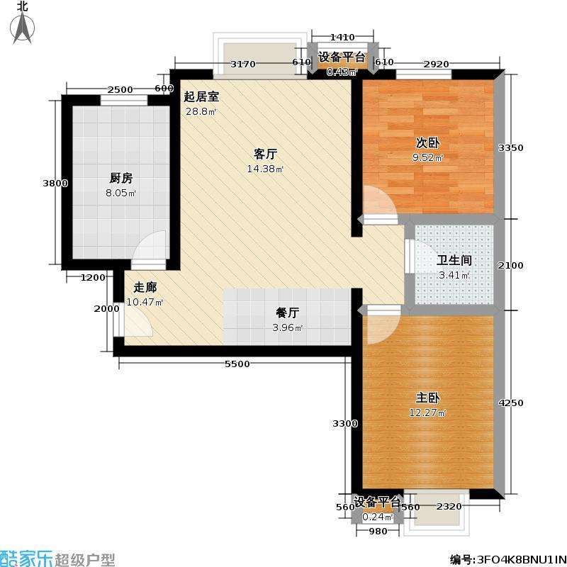 万年花城・濠景四期2号楼D反二室二厅一卫户型