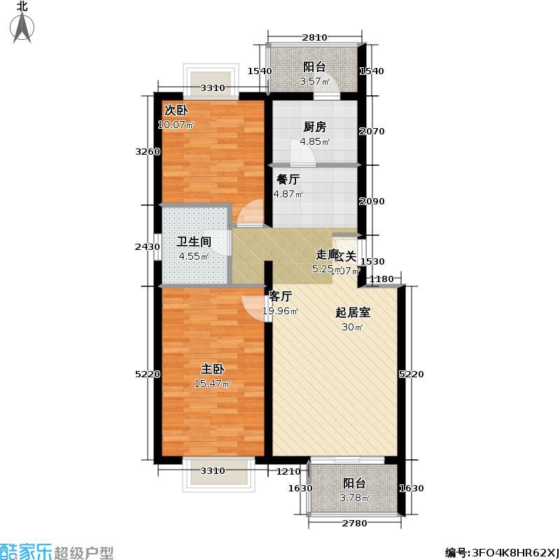 书海文园(骏城二期)91.51㎡2室2厅1卫1厨D户型