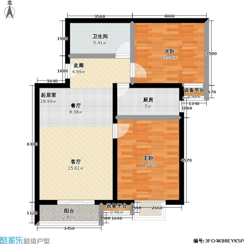 万年花城・濠景四期7号楼A反户型二室二厅一卫户型