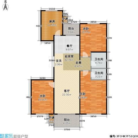 康居新城3室0厅2卫1厨166.00㎡户型图