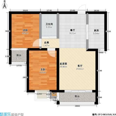 盛世桃城2室0厅1卫1厨89.00㎡户型图