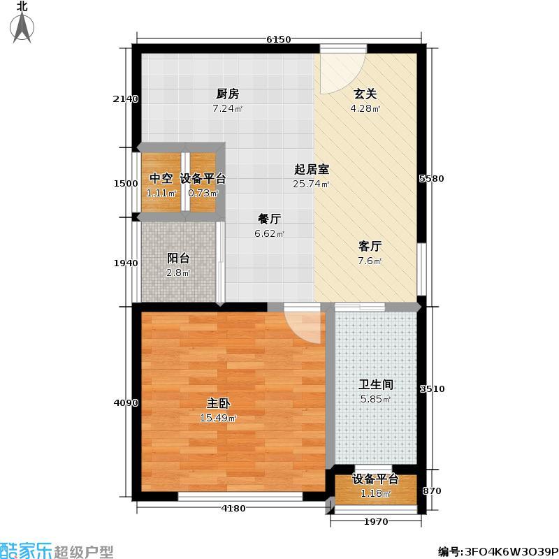 泰莱大厦房型: 一房; 面积段: 50 -60 平方米;户型