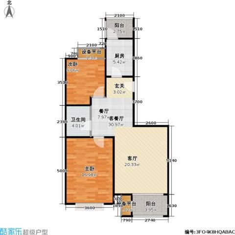 大城小镇2室1厅1卫1厨102.00㎡户型图