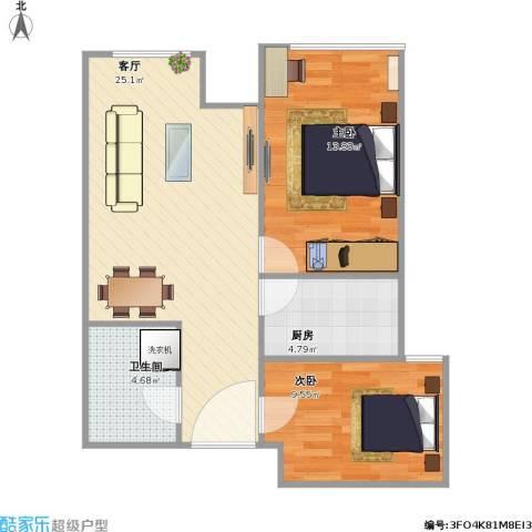金汉绿港2室1厅1卫1厨76.00㎡户型图