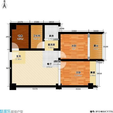 中茂橄榄城3室0厅1卫1厨68.00㎡户型图