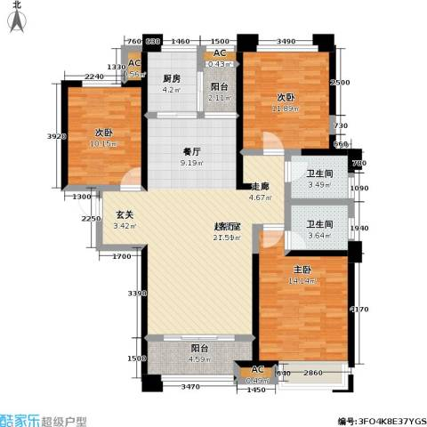 美的城3室0厅2卫1厨136.00㎡户型图