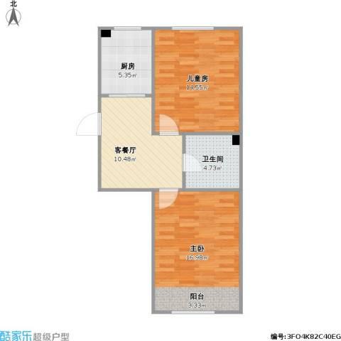 盛阳华苑2室1厅1卫1厨70.00㎡户型图