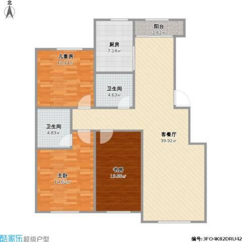 盛阳华苑3室1厅2卫1厨133.00㎡户型图
