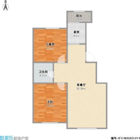 盛阳华苑2室1厅1卫1厨93.00㎡户型图