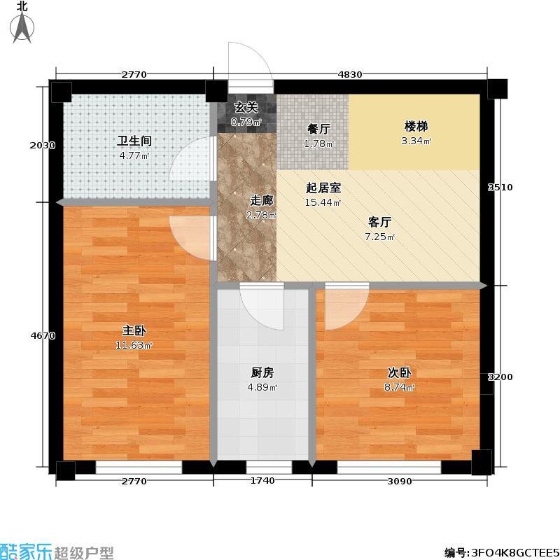 桃源山庄尊峪C户型2室1厅1卫1厨59.57㎡-64.12㎡户型2室1厅1卫