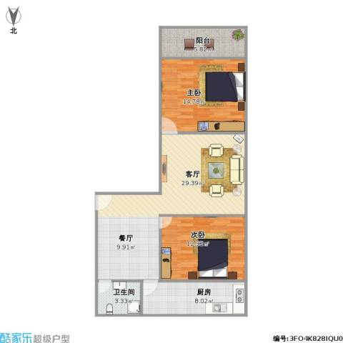 公交公司宿舍2室1厅1卫1厨100.00㎡户型图