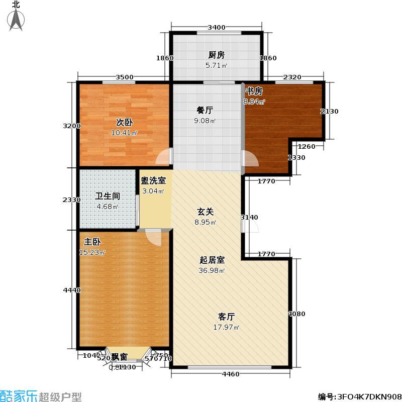 凯旋名都105.54㎡1#、3#楼 三室两厅一卫户型3室2厅1卫