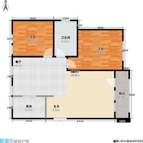 花园小区2室1厅1卫1厨104.00㎡户型图