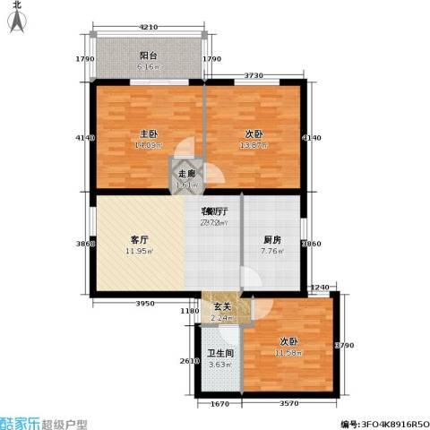管庄小区3室1厅1卫1厨91.00㎡户型图