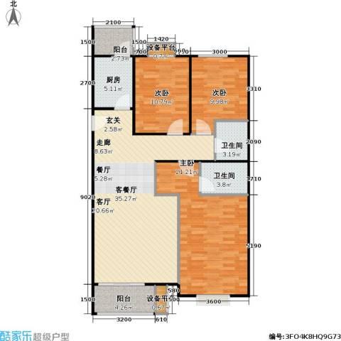 大城小镇3室1厅2卫1厨132.00㎡户型图