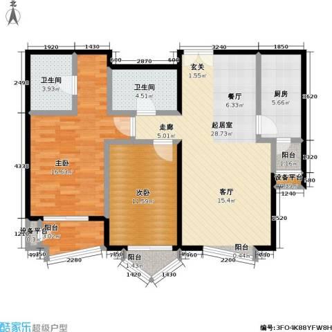 世纪东方城(远景)2室0厅2卫1厨111.00㎡户型图