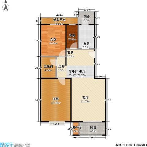 大城小镇3室1厅1卫1厨116.00㎡户型图