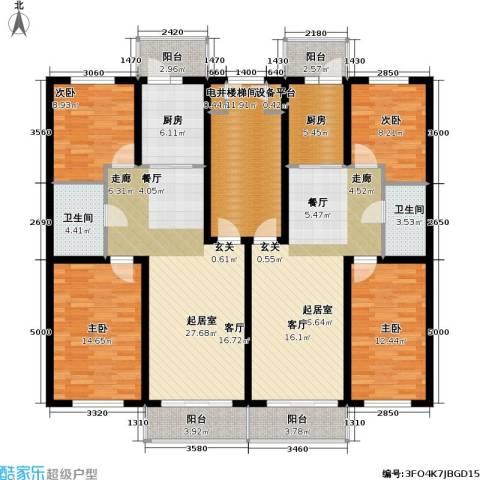 联通名苑4室0厅2卫2厨206.00㎡户型图