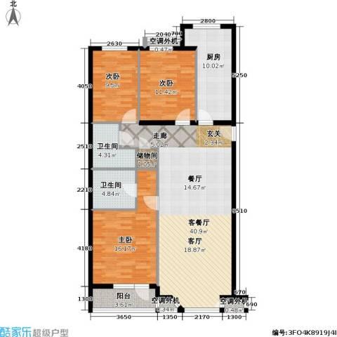 金港国际公寓(三期)3室1厅2卫1厨115.00㎡户型图