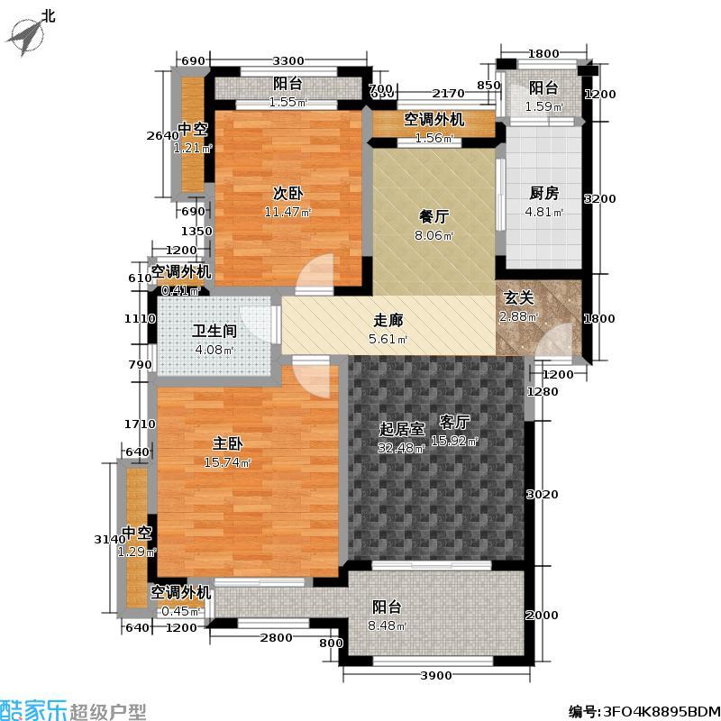 富力盈溪谷90.00㎡A户型两房两厅一卫户型2室2厅1卫