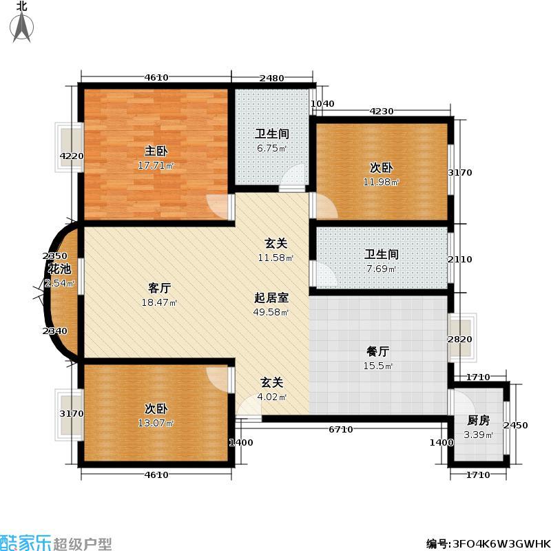欣嘉苑三期125.00㎡125平方米三室两厅两卫南北通户型