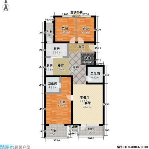 香湾(晶城秀府)3室1厅2卫1厨137.00㎡户型图
