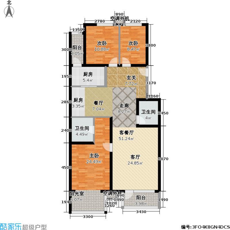 香湾(晶城秀府)138.83㎡标准层A1-1(二期)户型