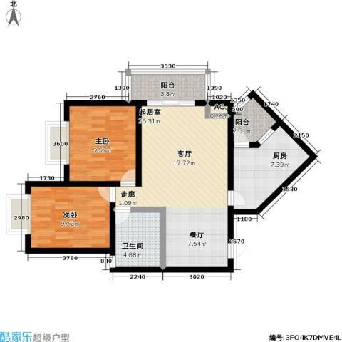 学府花园2室0厅1卫1厨83.00㎡户型图