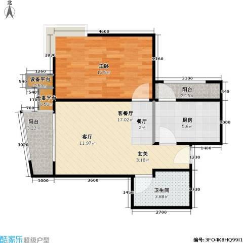 大城小镇1室1厅1卫1厨63.00㎡户型图