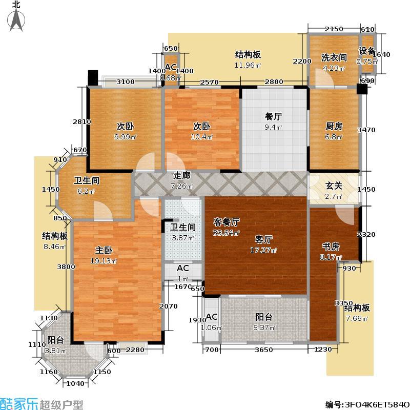 保利中央峰景126.17㎡保利中央峰景户型图6+1洋房12、13、14、15、16、17号楼三层D-A3户型2室2厅2卫(实得152平米)(9/23张)户型2室2厅2卫