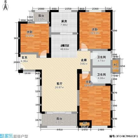 国金怡桂苑3室0厅2卫1厨131.00㎡户型图