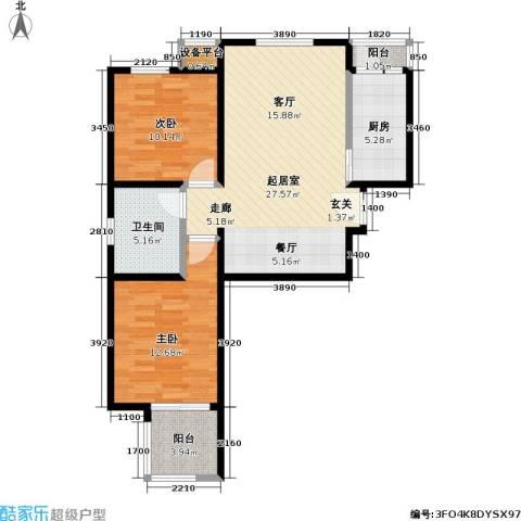 力天凤凰城2室0厅1卫1厨94.00㎡户型图
