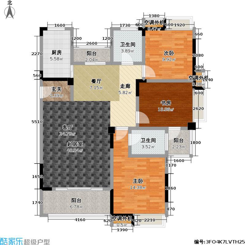 君怡美筑3-B1户型 128平米 三居室户型3室2厅2卫
