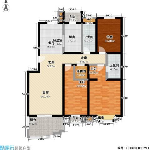 百旺家苑3室0厅2卫1厨132.00㎡户型图