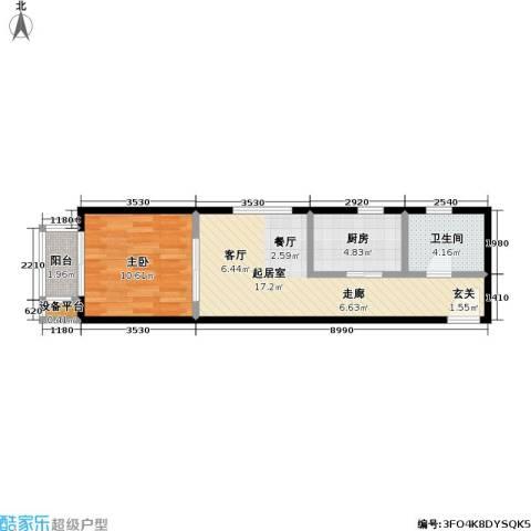 力天凤凰城1室0厅1卫1厨57.00㎡户型图