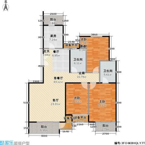 时代龙和大道3室1厅2卫1厨139.00㎡户型图
