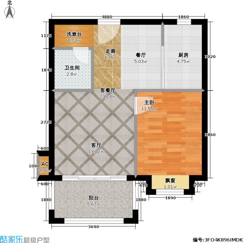 美林湖国际社区户型1室1厅1卫1厨