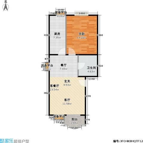 美然绿色家园1室1厅1卫1厨59.00㎡户型图